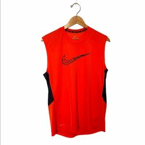 Nike Shirt Sleeveless Dri-Fit Orange Workout Men Shirt